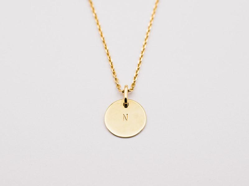 Personalisierte Karree-Kette in 14kt Gold